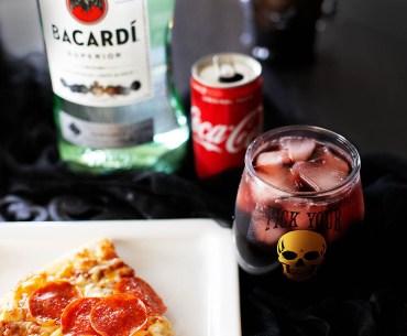Fun EASY Halloween pizza & wine cocktail pairing + recipe for a Rum Kalimotxo