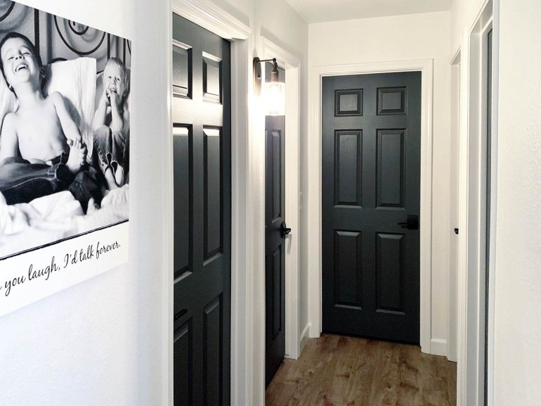 How to paint your interior doors dark grey