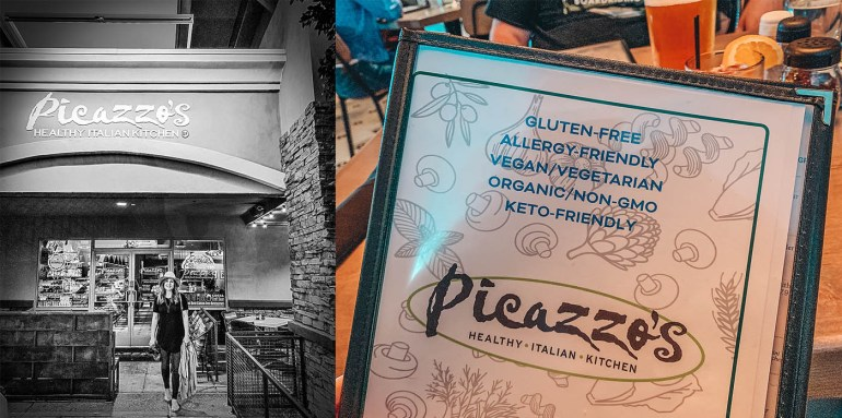 Woman in front of Picazzo's restaurant and a view of the front of the menu