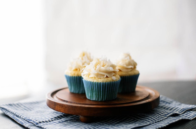 Gluten Free Coconut Cupcakes with Lemon Curd Filling