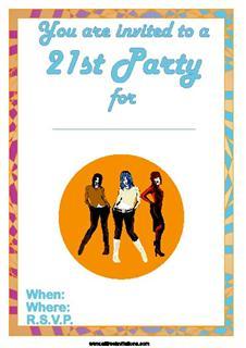 orange three girls 21st birthday invite design