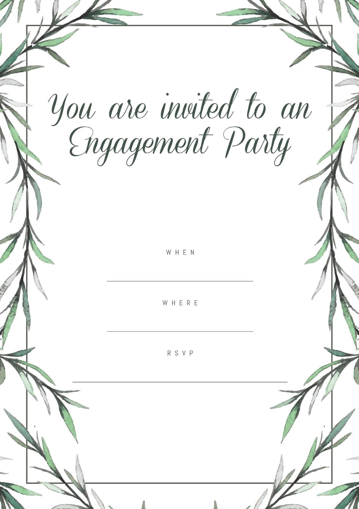 Engagement party invitation green bark minimal