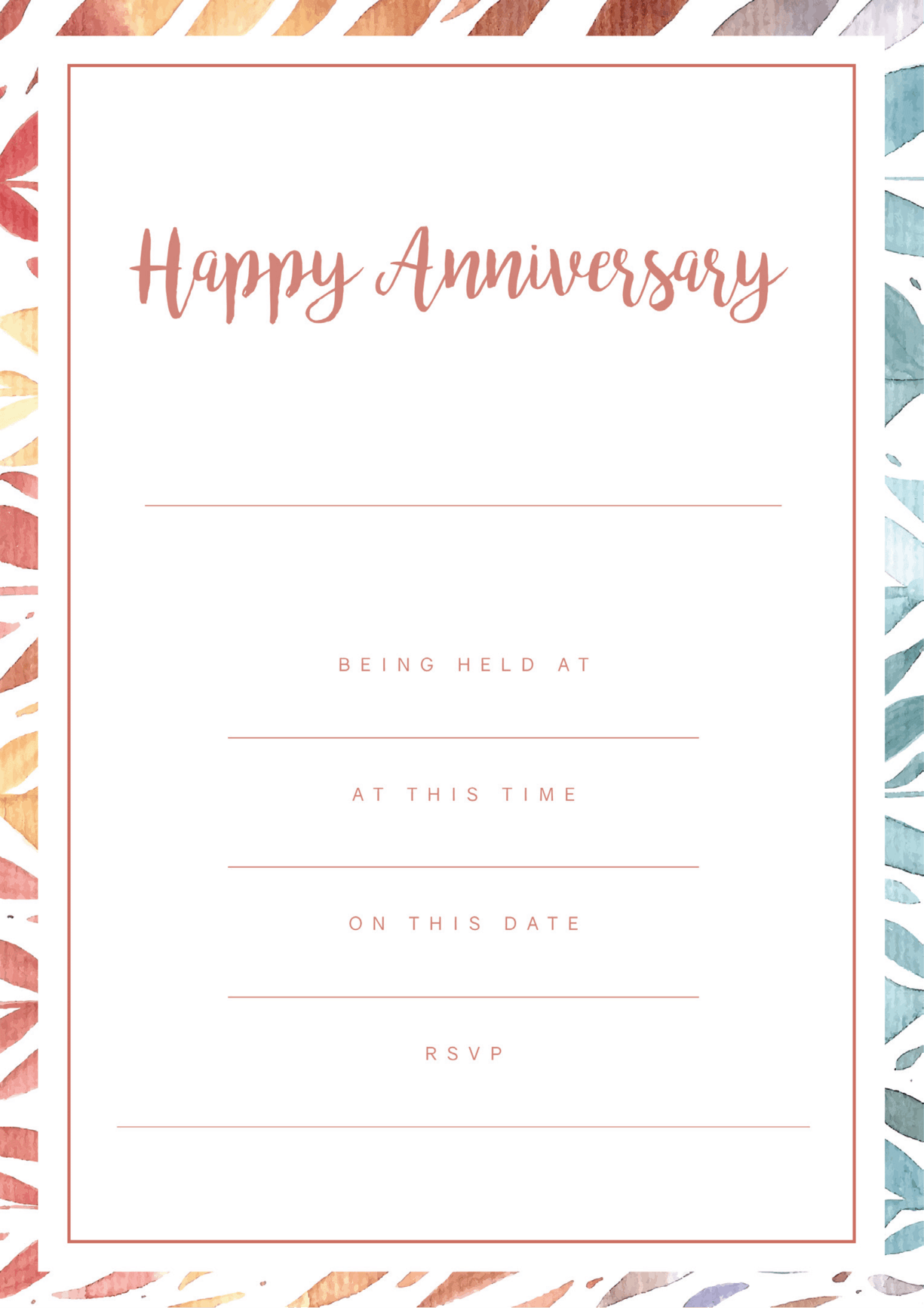 modern happy anniversary party invitation red and blue border design
