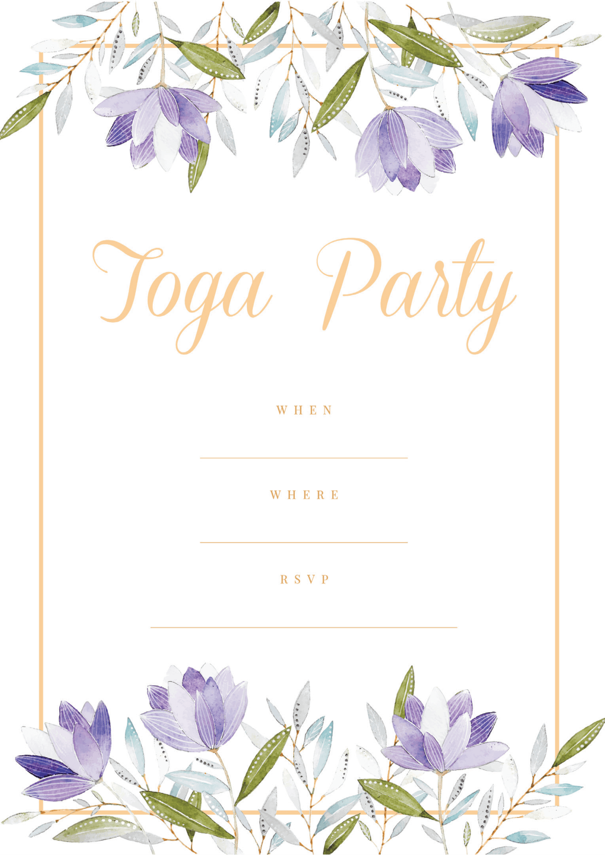 Modern Toga Party invitation  purple floral