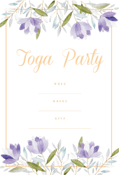 Toga party invitation purple pastel flowers orange