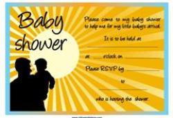 Yellow rising sun baby shower invitation