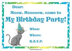 A cat birthday party invitation with with a party hat