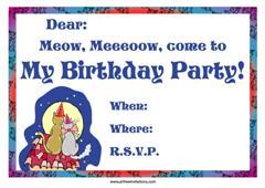 friendly cats birthday party invitation