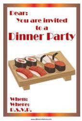 Dinner party invite sushi japanese
