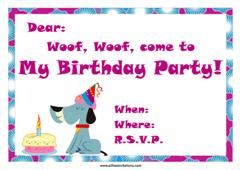 dog with party hat and birthday cake invitation design