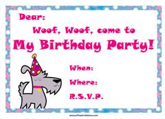 A dog with a party hat birthday party invitation