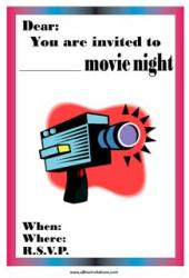 Movie night invitation red movie camera