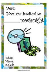 Movie marathon invite dvd popcorn