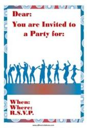 Party blue dancing invitation