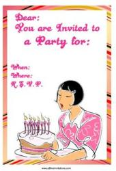Free party invitation girl blowing out candles bob cut