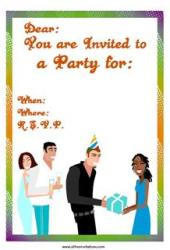 Free party invitation couples giving presents