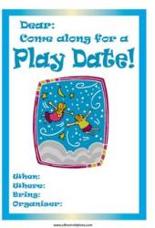Play date invite blue flying children