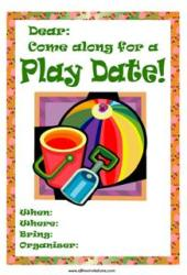 Playdate invite beach ball bucket shovel red
