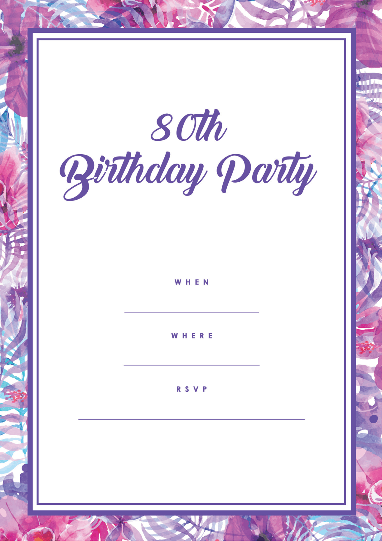 80th Pink Purple Free Printable 100th Birthday Party