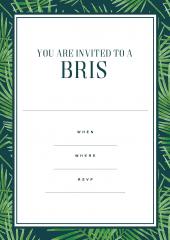 Bris celebration invite green border design