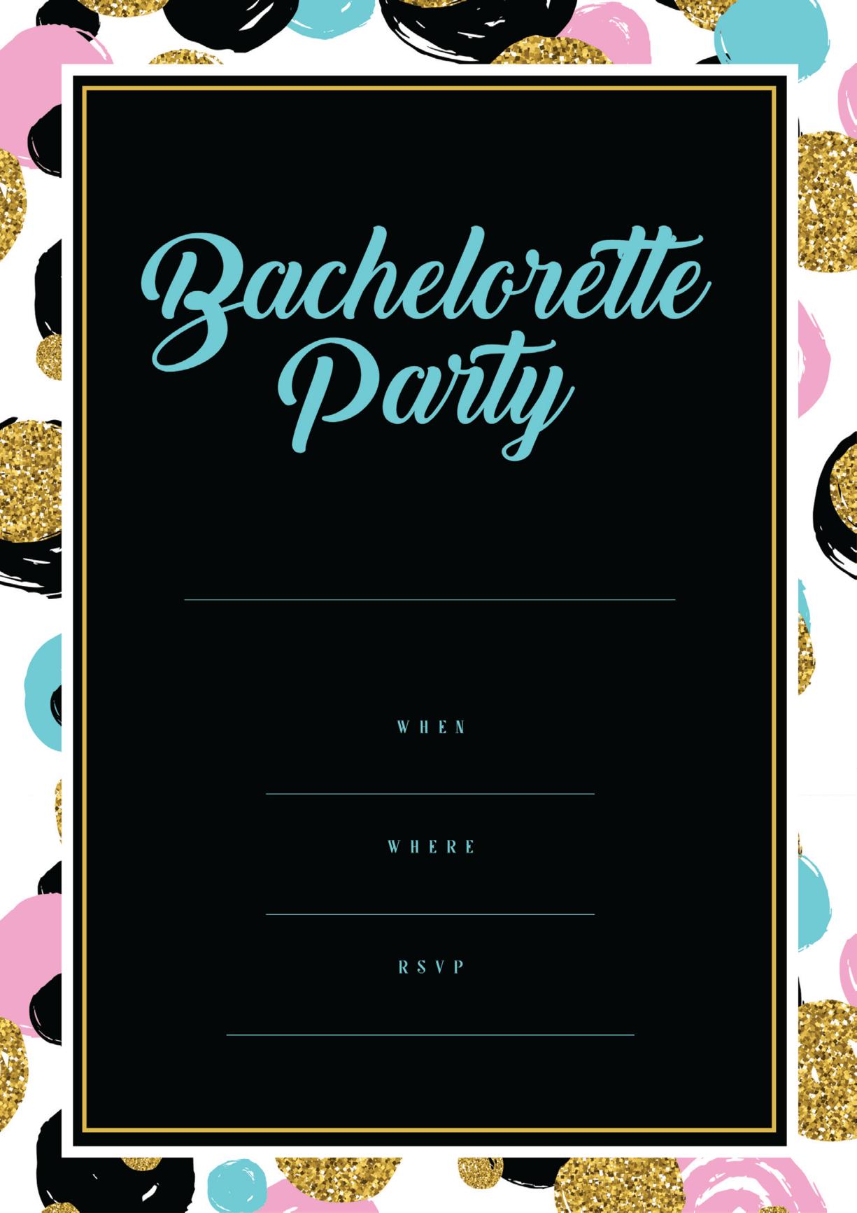 black bachelorette party invitation with palette border