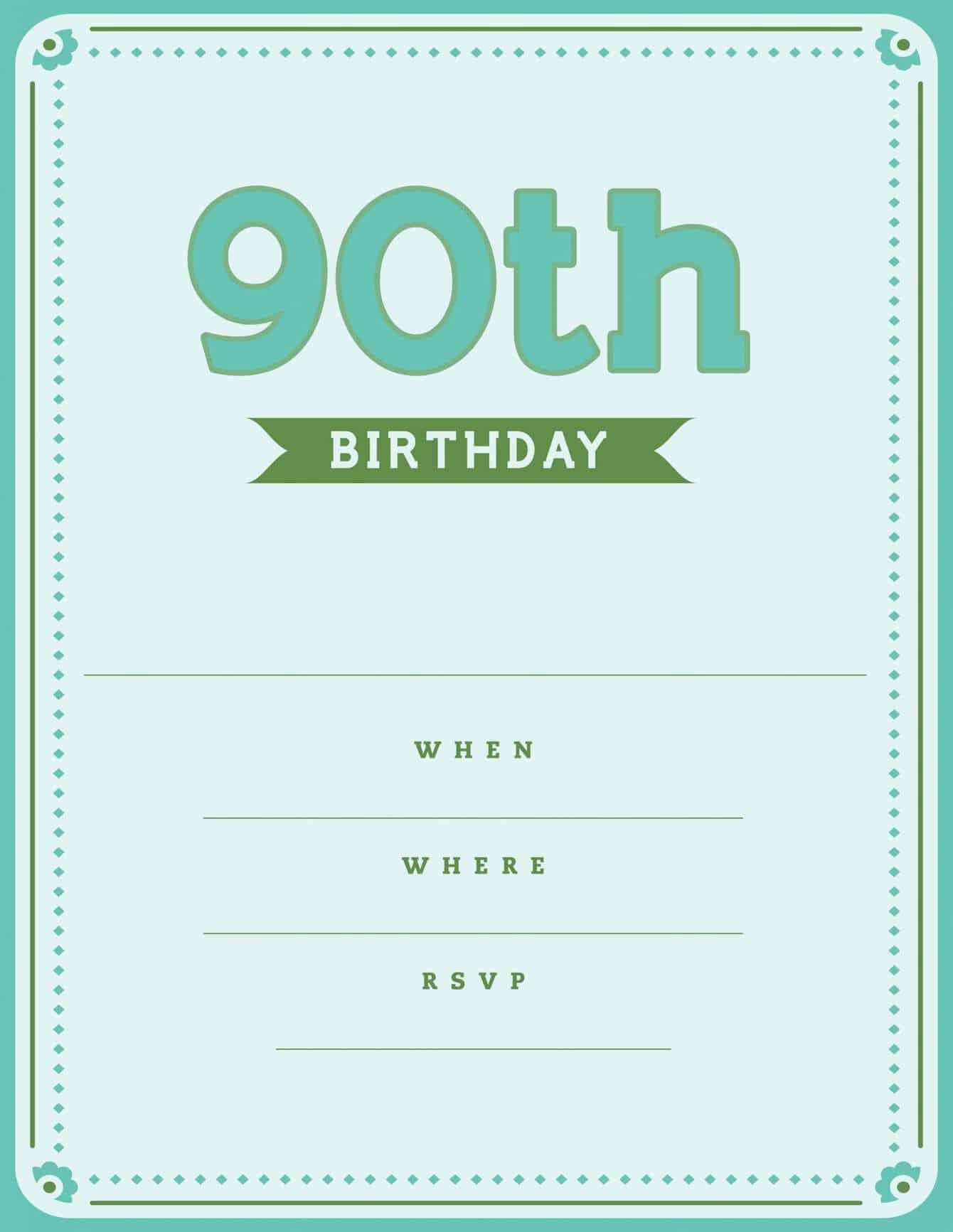 90 birthday invite milestone green