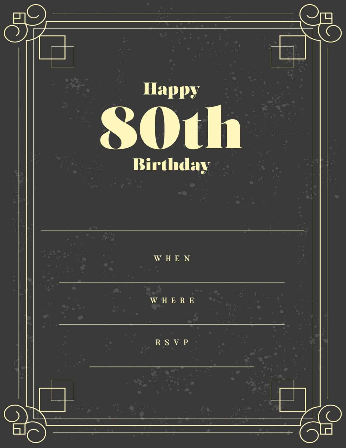 80th black gold masculine design invitation free
