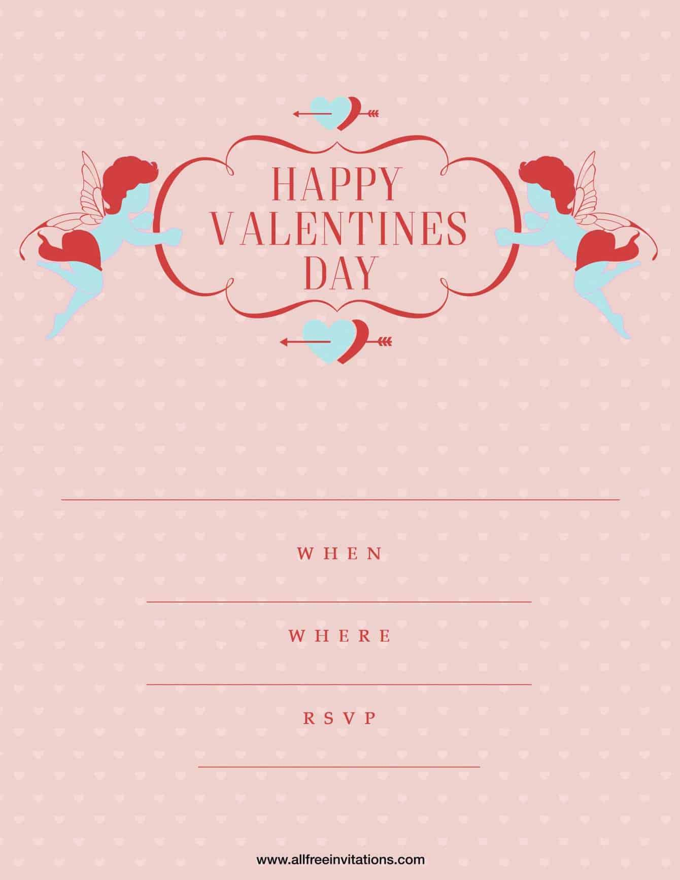 valentines day party invite pink blue