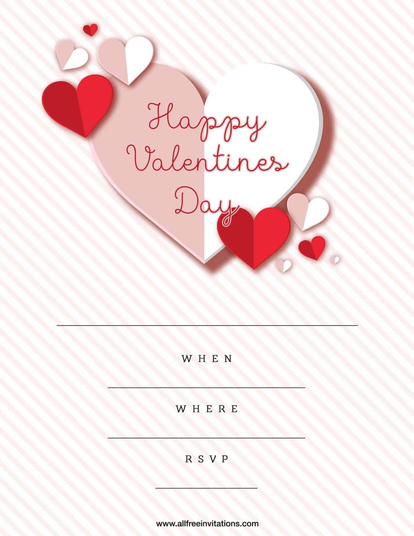 Valentine Party modern stripe design with hearts