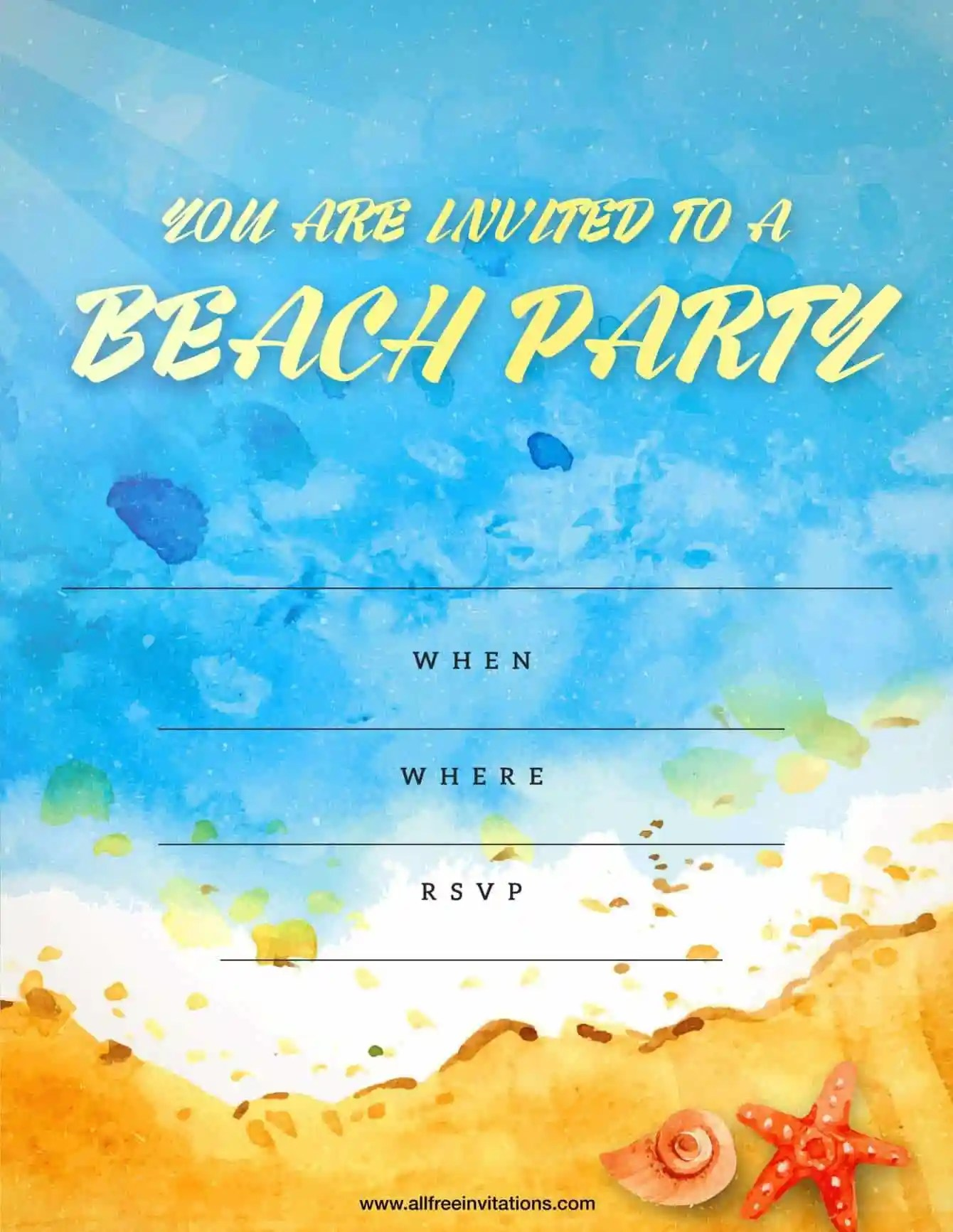 Beach Party Invitation Sand and Waves Design