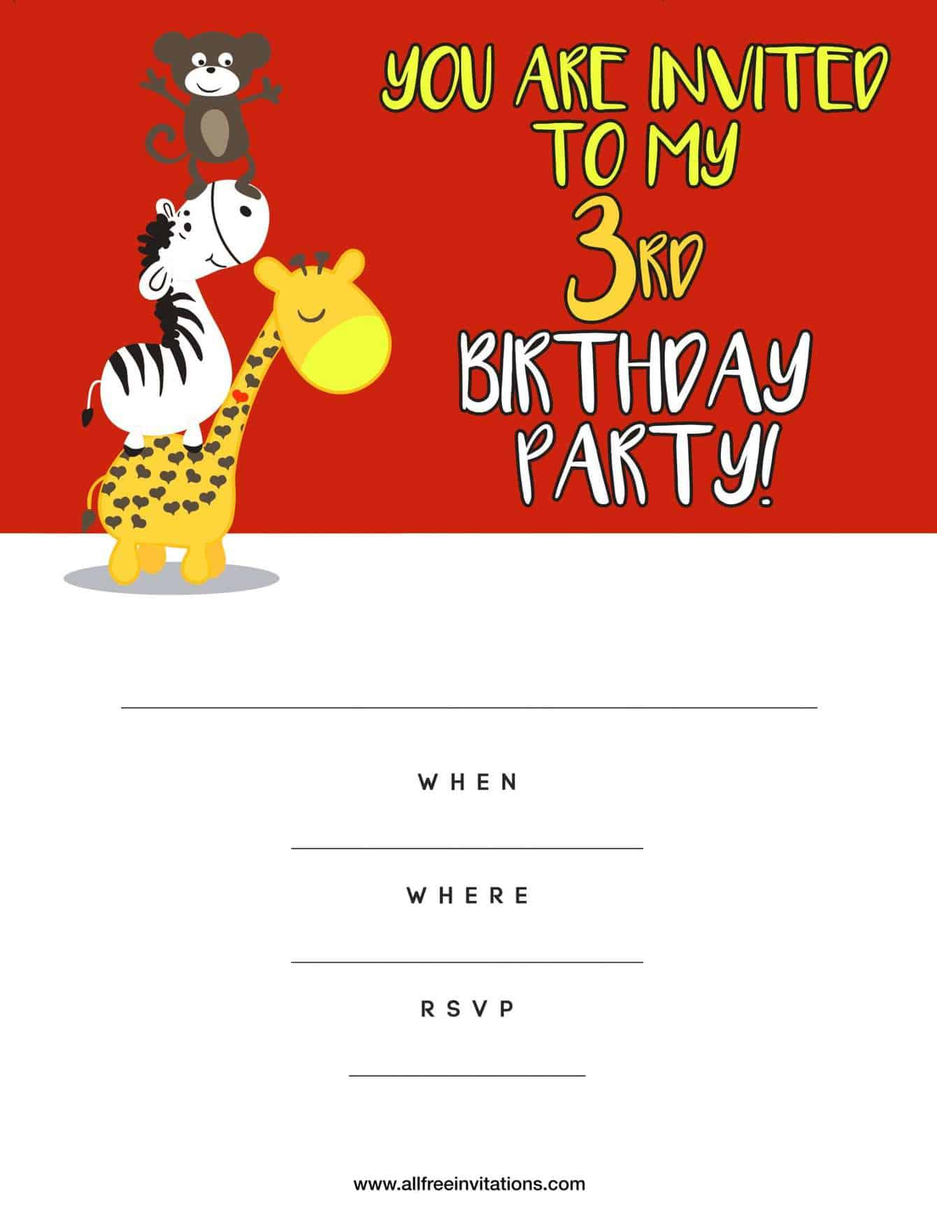 3rd Birthday Party Invitation Red Animals