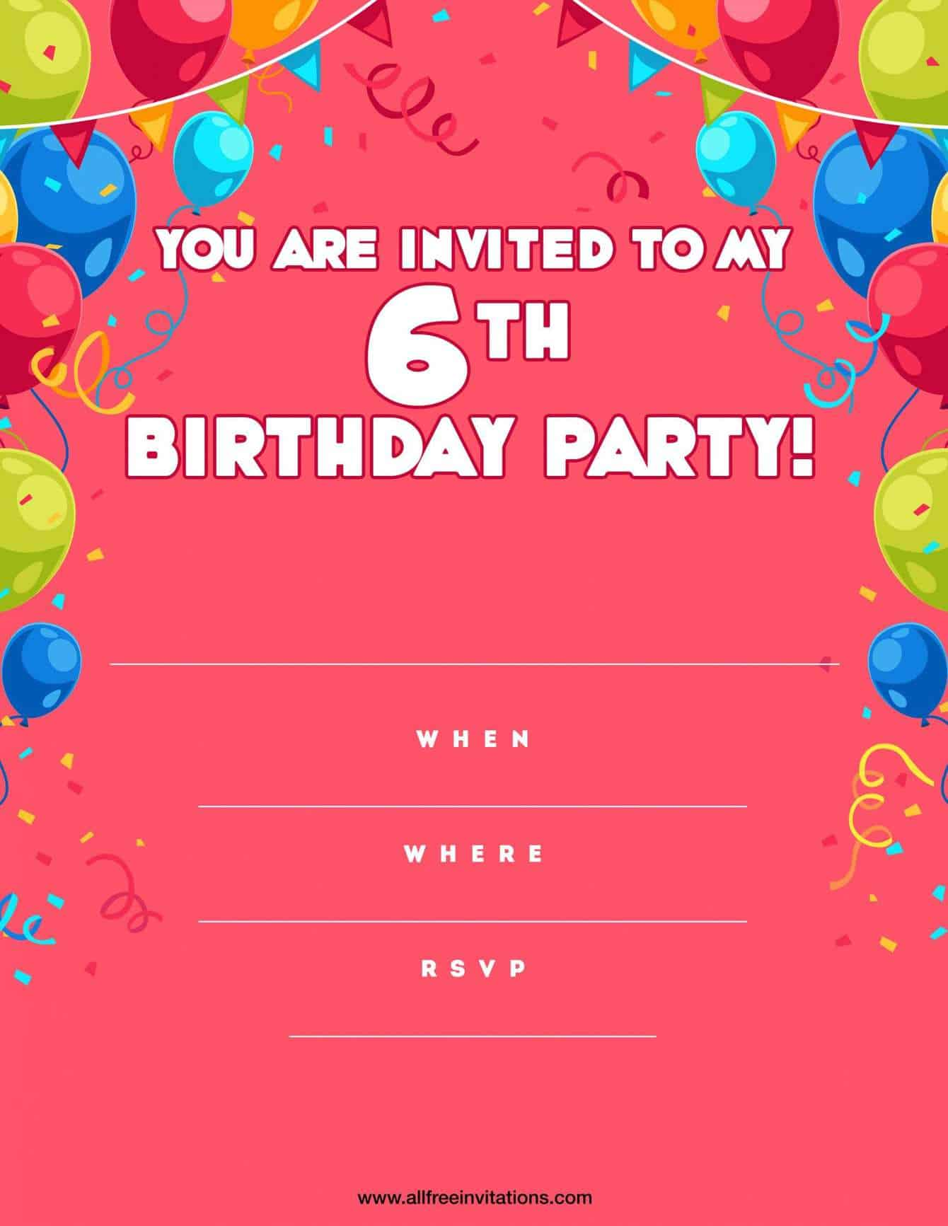 6th Birthday Party Invitation Pink Balloons Buntings
