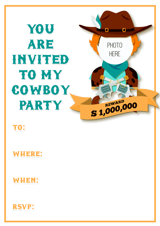 Cowboy party invitation design