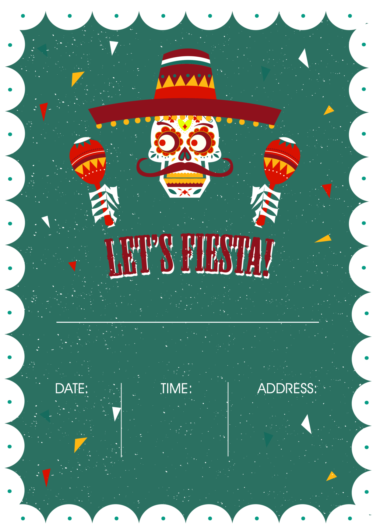 Mexican party - green skull fiesta invitation