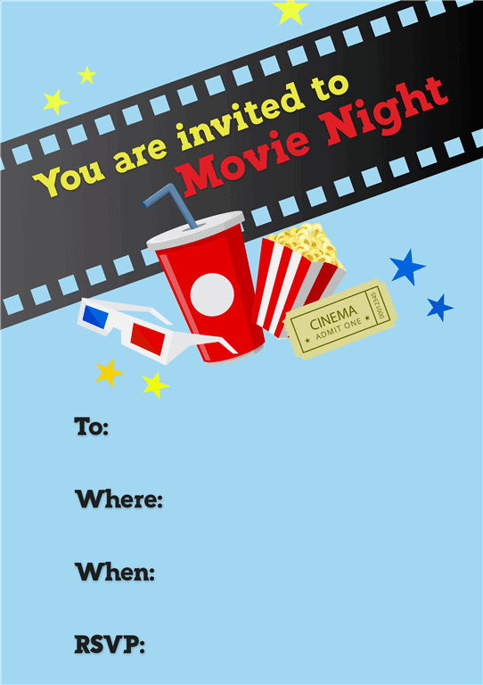 Blue movie night invitation popcorn ticket