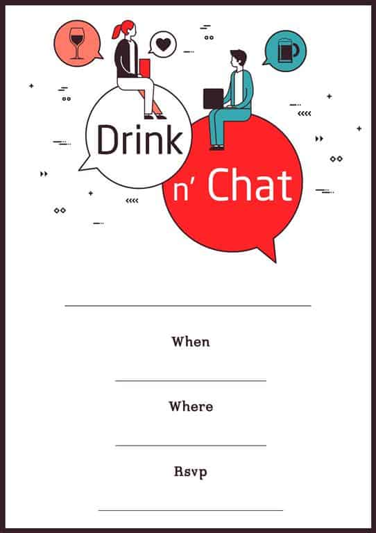 Drink and chat virtual isolation party invitation