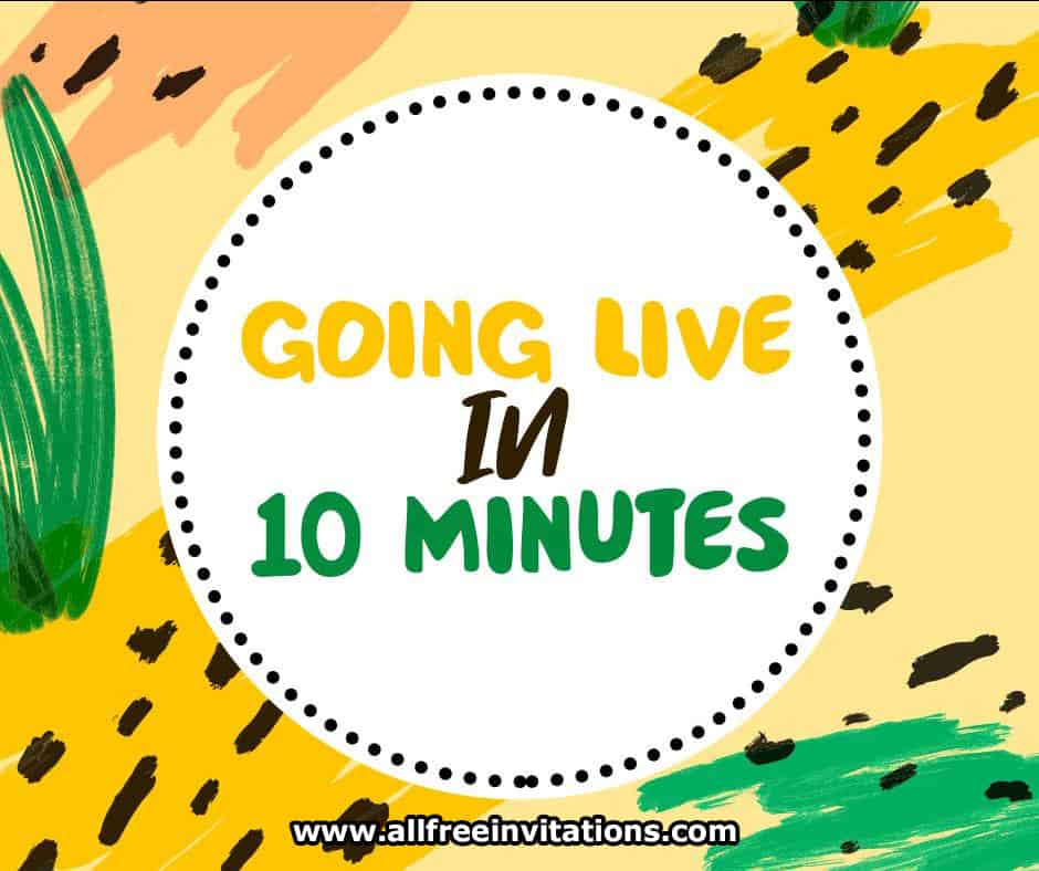 going live in 10 minutes - free facebook live invitation social media graphic