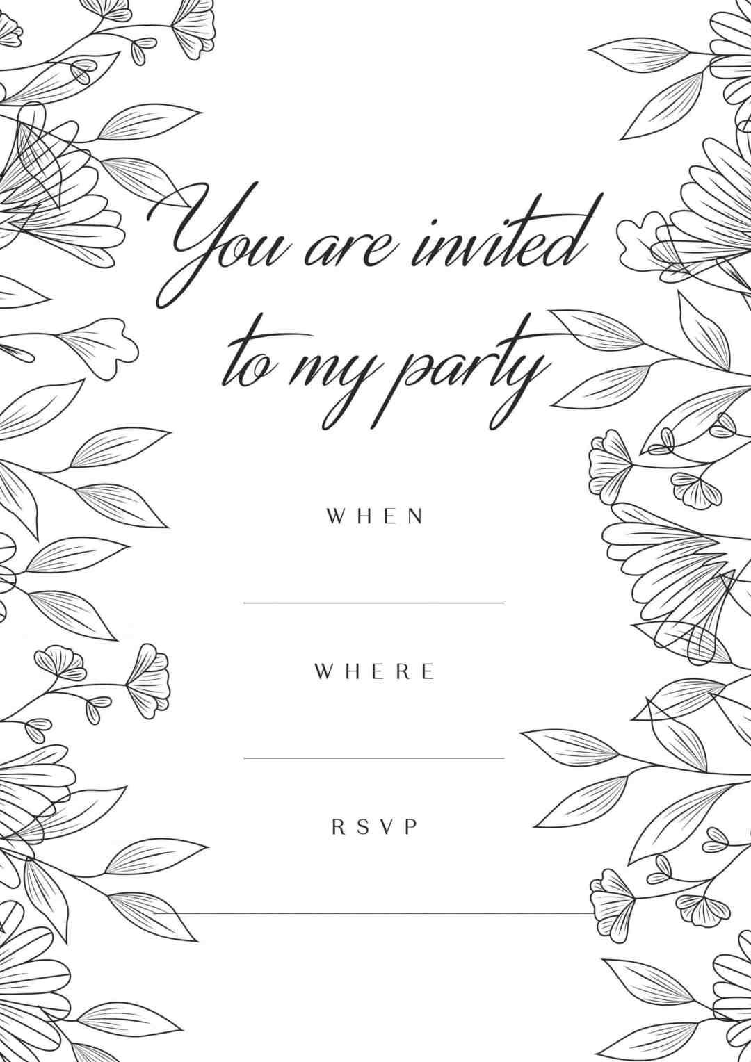 Grey tones floral birthday party invitation - all free invitations