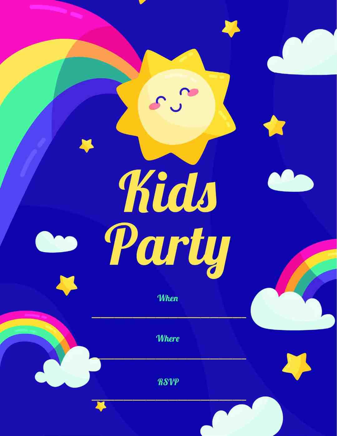 Kids Party - Rainbow Sunshine Clouds - All Free Invitation