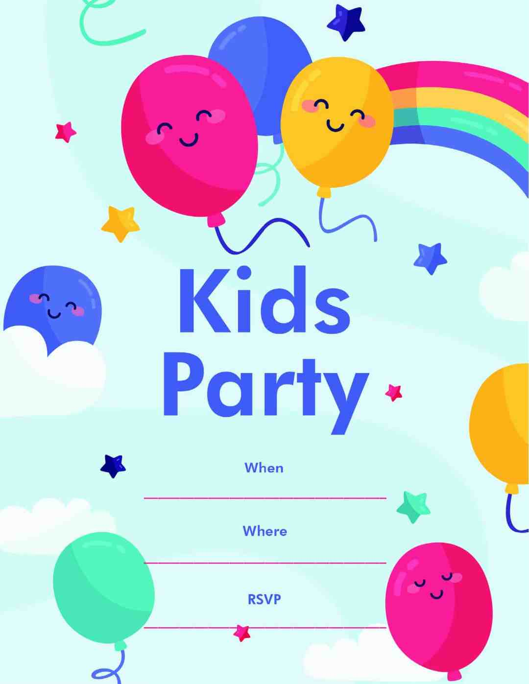Kids Party - Rainbow Balloons Stars Clouds - All Free Invitation