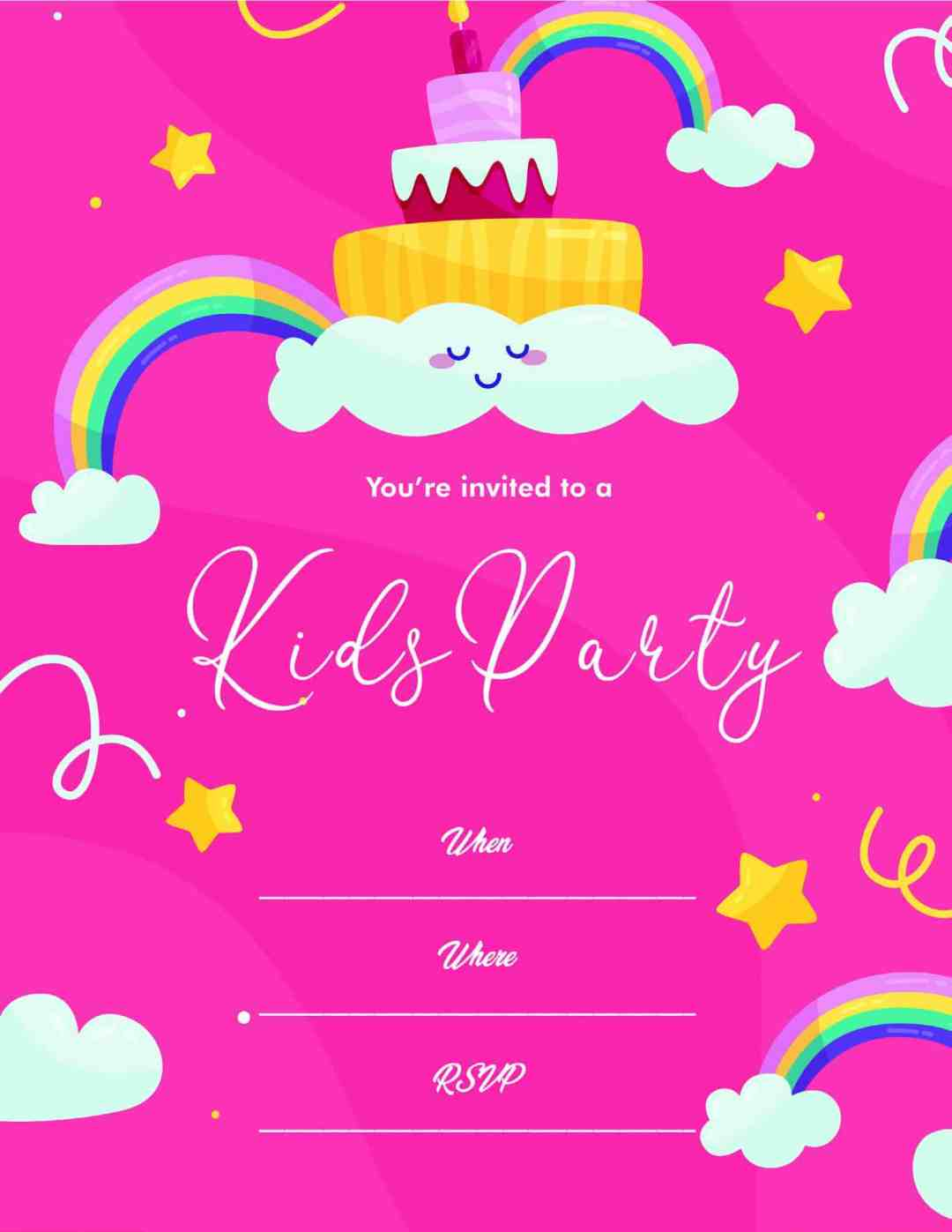 Kids Party - Rainbow Stars Clouds Pink - All Free Invitation