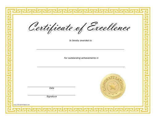 Certificate of Excellence - Free Printable ...