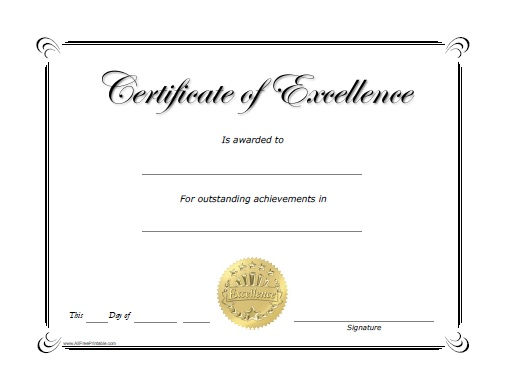 Excellence Award Certificate - Free Printable ...