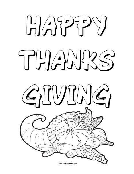Happy Thanksgiving Coloring Page Free Printable Allfreeprintable Com
