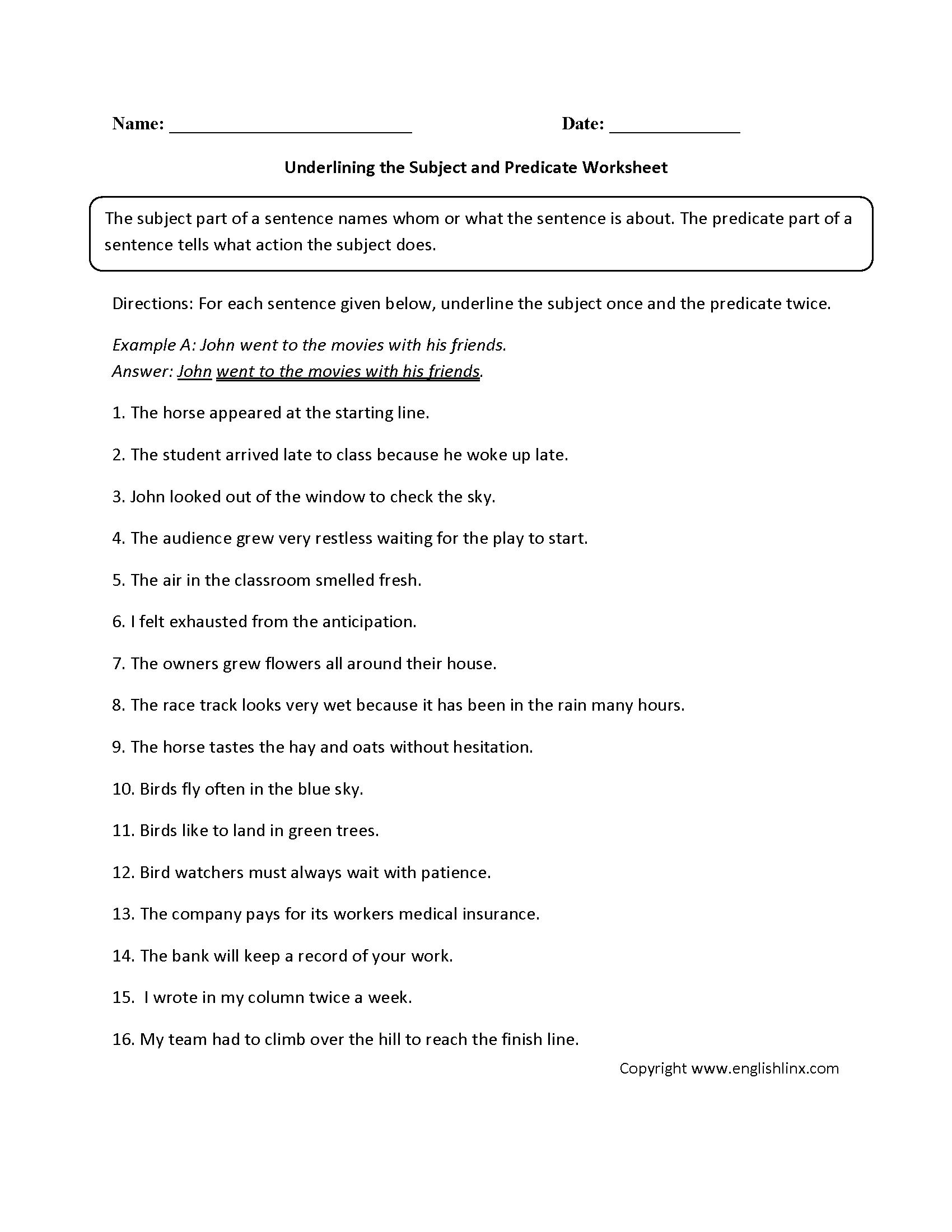 Free Printable Subject Predicate Worksheets 2nd Grade