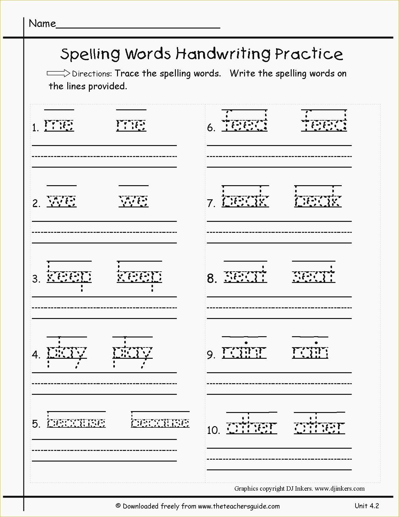 Free Printable Spelling Practice Worksheets