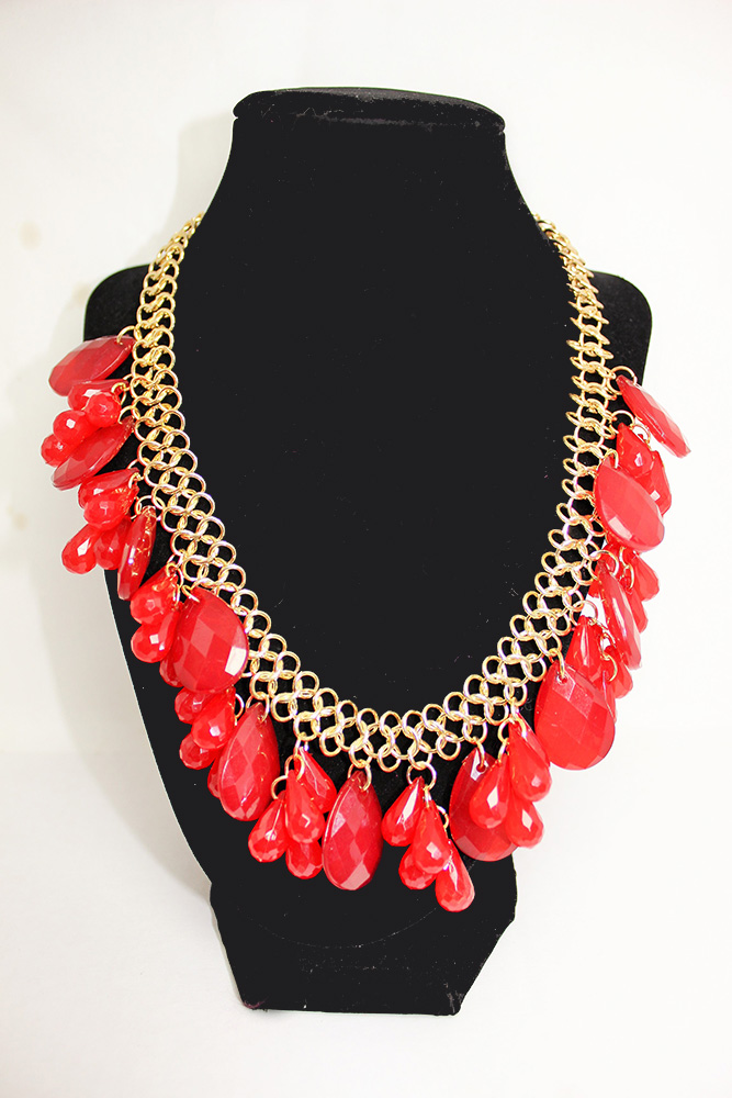 Caprice Cluster Necklace Set - Red/Gold - All Frills Beauty and ...