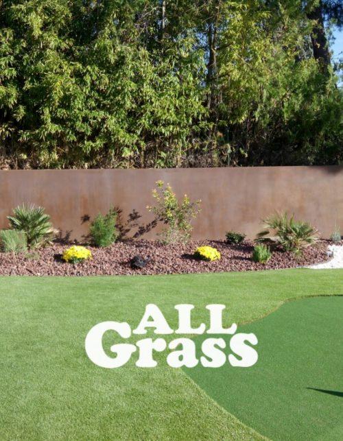 jardin con putting green y paisajismo con aridos