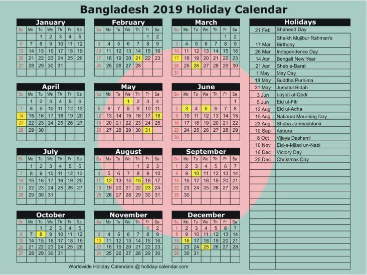 government holiday calendar 2019 bangladesh