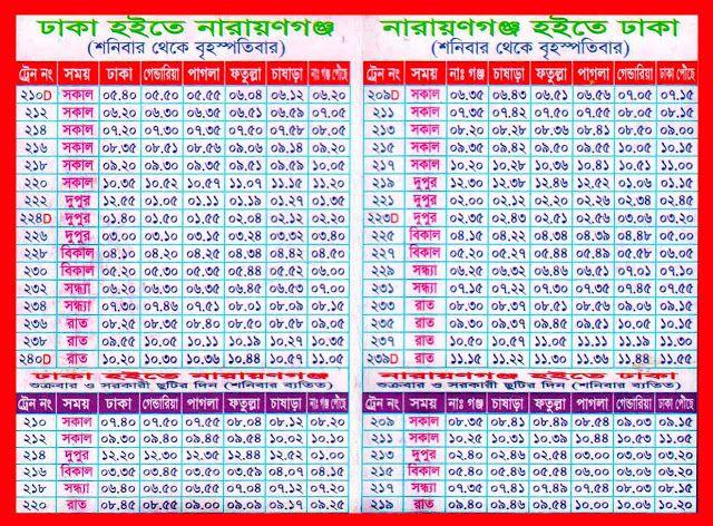 Dhaka to Narayanganj Train Time